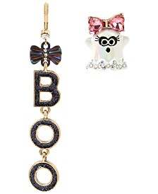 Betsey Johnson Two-Tone Crystal & Glitter Boo-Ghost Mismatch Drop Earrings
