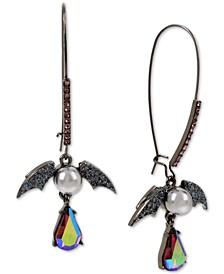 Black-Tone Crystal & Imitation Pearl Bat Drop Earrings