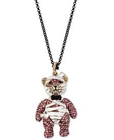 "Two-Tone Glitter Rhinestone Mummy Bear Pendant Necklace, 32"" + 3"" extender"
