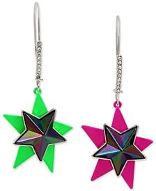 Two-Tone Double Star Mismatch Drop Earrings