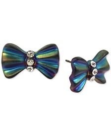 Oil Slick-Tone Pavé Bow Stud Earrings
