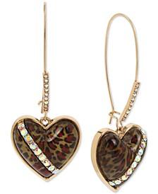 Gold-Tone Crystal Leopard Animal-Print Heart Drop Earrings