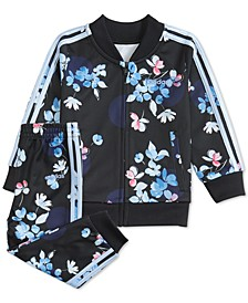 Baby Girls Floral-Print Tricot Jacket & Pants Set