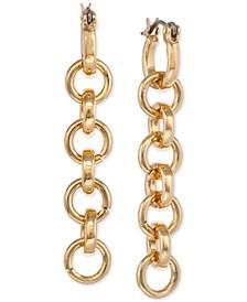Gold-Tone Chain Link Linear Drop Earrings