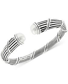 Freshwater Pearl (10mm) Cuff Bracelet in Sterling Silver