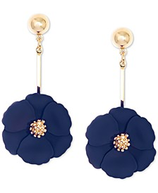 Gold-Tone Painted Flower Drop Earrings