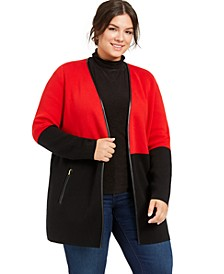 Plus Size Milano Two-Tone Cardigan, Created for Macy's