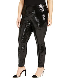 I.N.C. Plus Size Sequin Pull-On Pants, Created for Macy's