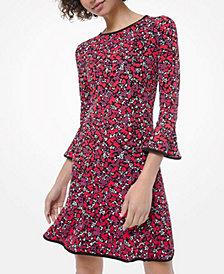 Michael Michael Kors Woodland Leaf Flounce Dress, Regular & Petite Sizes