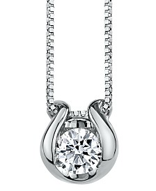 Sirena Diamond (1/4 ct. t.w.) Horseshoe Pendant in 14k White Gold