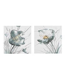 Ombre Grey Floret Printed Canvas with Gold Foil Embellishments 2-Pc Set