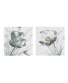 Madison Park Ombre Grey Floret Printed Canvas with Gold Foil Embellishments 2-Pc Set