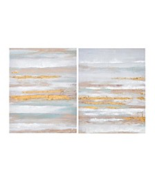 Seafoam Aurora Canvas Art 2-Pc Set in Heavy Textured Gold Foil