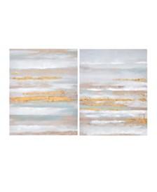 Madison Park Seafoam Aurora Canvas Art 2-Pc Set in Heavy Textured Gold Foil