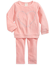 First Impressions Baby Girls Velour Heart-Print Top & Leggings, Created For Macy's