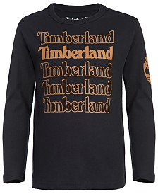 Timberland Big Boys Black Stacked Logo T-Shirt