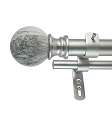 Marble Ball Double Curtain Rod Set