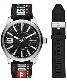 Diesel Men's Rasp Black Nylon Logo Strap Watch 46mm Gift Set