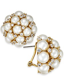 Gold-Tone Imitation Pearl & Crystal Cluster Stud Earrings