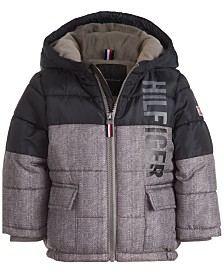 Tommy Hilfiger Baby Boys Jack Gray Colorblocked Logo-Print Puffer Jacket
