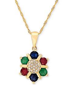"Multi-Gemstone (7/8 ct. t.w.) & Diamond (1/20 ct. t.w.) Flower 18"" Pendant Necklace in 14k Gold"