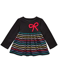 Baby Girls Bow Appliqué Stripe Tunic T-Shirt, Created For Macy's