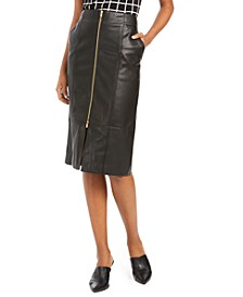 Zipper Faux-Leather Pencil Skirt