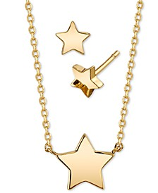 2-Pc. Set Mini Star Pendant Necklace & Matching Stud Earrings in Gold-Tone, Created for Macy's