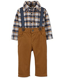 Baby Boys 3-Pc. Plaid Flannel Bodysuit, Pants & Suspenders Set