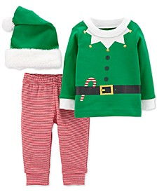 Baby Boys 3-Pc. Elf Top, Pants & Fleece-Trim Hat Set