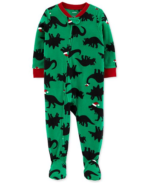Carter's Baby Boys Footed Fleece Santa-Hat Dinos Pajamas