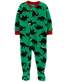 Toddler Boys Santa-Hat Dinosaurs Footed Pajamas