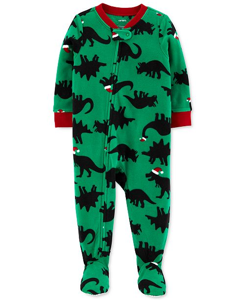 Carter's Toddler Boys Santa-Hat Dinosaurs Footed Pajamas