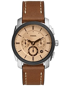 Men's Chronograph Machine Brown Leather Strap Watch 42mm