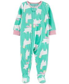 Baby Girls Footed Fleece Llama Pajamas