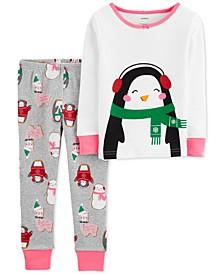 Baby Girls 2-Pc. Snug Fit Cotton Penguin Pajamas Set