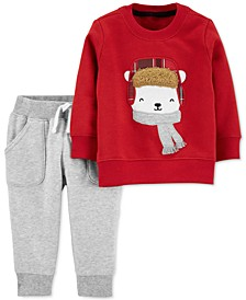 Baby Boys 2-Pc. Polar Bear Sweater & Fleece Pants Set