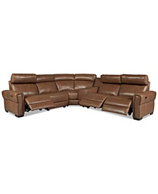 """Josephia 6-Pc. Leather """"L"""" Shaped Sectional with 3 Power Recliners and Console, Created for Macy's"""