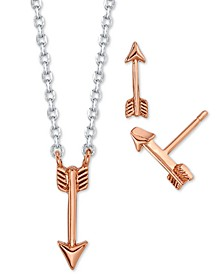 2-Pc. Set Mini Arrow Two-Tone Pendant Necklace & Stud Earrings in Fine Silver-Plate & Rose Gold-Tone, Created for Macy's