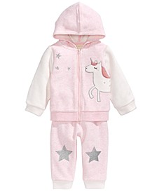 Baby Girls 2-Pc. Minky Unicorn Hoodie & Pants Set, Created For Macy's