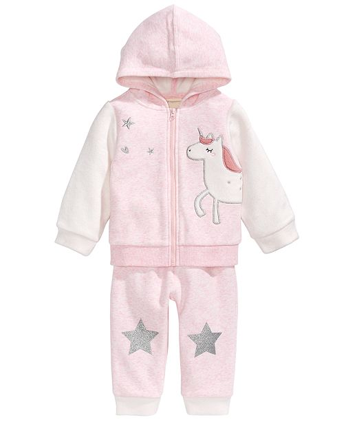 First Impressions Baby Girls 2-Pc. Minky Unicorn Hoodie & Pants Set, Created For Macy's