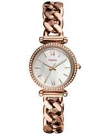 Fossil Women's Carlie Mini Rose Gold-Tone Chain Bracelet Watch 28mm