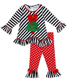 Little Girls 2-Pc. Holiday Tree Top & Polka-Dot Leggings Set