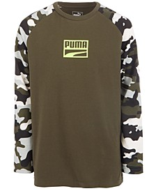 Big Boys Camo-Sleeve Logo-Print T-Shirt