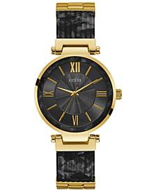 Women's Gold-Tone Stainless Steel & Black Resin Bracelet Watch 37mm