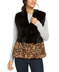 Colorblocked Rabbit Fur Vest