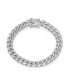 Men's Stainless Steel Miami Cuban Chain Link Style Bracelet with 10mm Box Clasp Bracelet