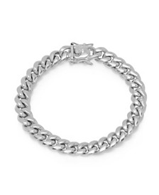 Steeltime Men's Stainless Steel Miami Cuban Chain Link Style Bracelet with 10mm Box Clasp Bracelet