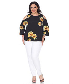 White Mark Plus Size Lorain Cold Shoulder Top