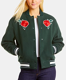 Live Embroidered Roses Bomber Jacket